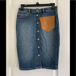 Allsaints Button Denim Skirt with Suede Pocket